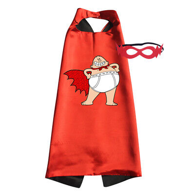 Captain Underpants Superhero Costume Cape with Mask Halloween Birthday Dress Up