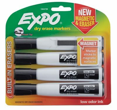 EXPO® Magnetic Dry Erase Markers With Eraser, Chisel Tip, Black Ink, Pack Of 4