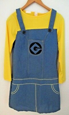 Womens Adult Despicable Me Minion Dress Costume Halloween Cosplay Sz S/M Yellow