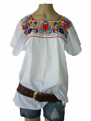 f731425391834d 4Xl White Peasant Puebla Hand Embroidered Mexican Blouse Top Plus Size