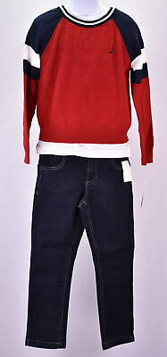 Little Boy's  Nautica N430G59Q Raglan Sweater,Tee,Denim Pant Set Red
