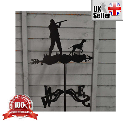 Black Hunter Hound Weather Vane Durable Powder Coated Steel Roof Wall Mounting