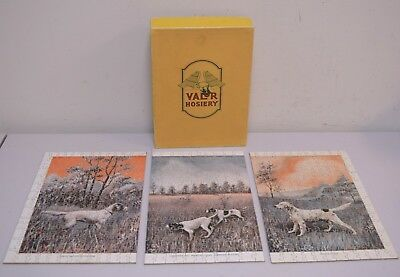 Vintage 1930s/40s 3 Part Wood Jigsaw Puzzle Hunting Pointing Dogs ~420 Pieces~