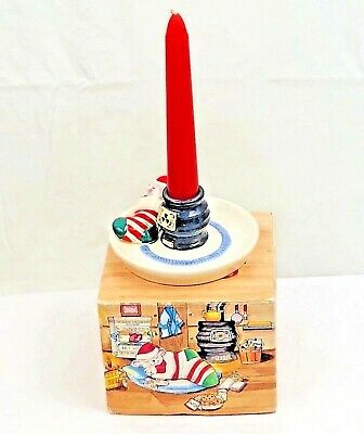 Avon Snuggly Mouse Ceramic Candle Holder 6 inch Taper Christmas Fragrance