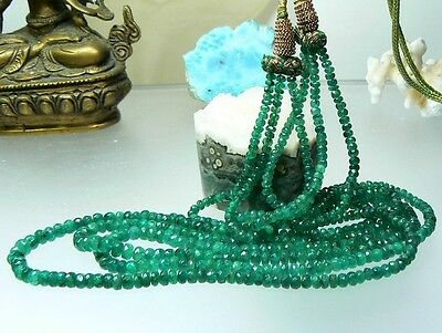 FACETED BRAZIL EMERALD BEADS 3 STRANDs NECKLACE TRANSLUCENT NATURAL GREEN 224ctw