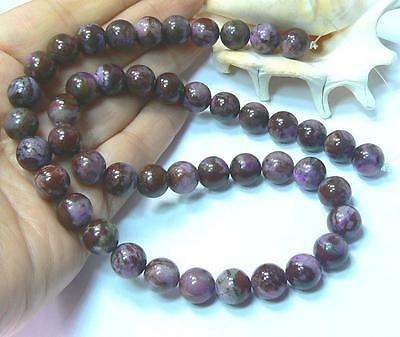 "NATURAL UNTREATED AFRICAN PURPLE SUGILITE BUSTAMITE ROUND BEADS 10mm 18"" STRAND"