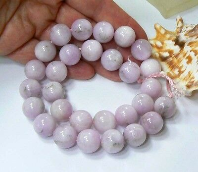 "RARE 14mm ROUND NATURAL PINK AFGHAN KUNZITE BEADS 16"" FULL STRAND 650ctw"