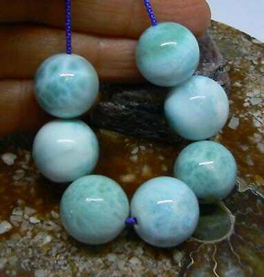 7 RARE CARIBBEAN BLUE LARIMAR ROUND SPHERE BALL BEADS 15-16mm 188cts AAA