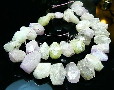 "RARE BIG PINK GREEN AFGHAN KUNZITE FACETED BEADS 16"" STRAND 550cts"