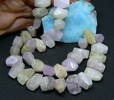 "RARE PINK GREEN AFGHAN KUNZITE FACETED NUGGET BEADS 16"" STRAND 510cts 14.5-17mm"