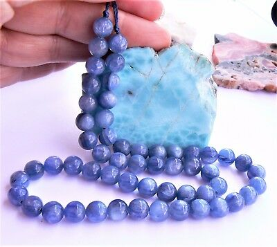 "RARE NATURAL CATS EYE BLUE KYANITE ROUND BEADS 7.25-7.5mm 16"" STRAND AAA"