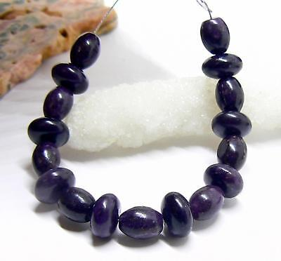 "NATURAL UNTREATED AFRICAN PURPLE SUGILITE RONDELLE OVAL BEADS 17pc SET 5"" STRAND"