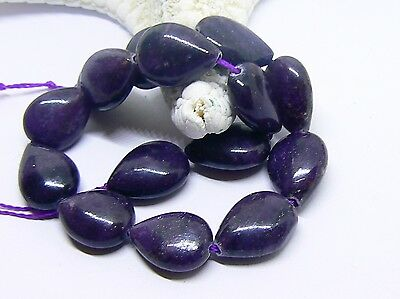 15 NATURAL UNTREATED AFRICAN PURPLE SUGILITE DROP BEADS STRAND 13-13.5mm 96ctw