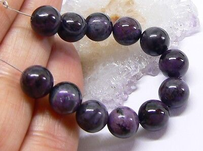 12 NATURAL UNTREATED AFRICAN PURPLE SUGILITE ROUND BEADS STRAND 8mm 49ctw