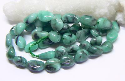 """GENUINE NATURAL SMOOTH EMERALD FREE FORM NUGGET BEADs 118cts 8-12mm 16"""" STRAND"""