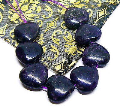 8 RARE 100% NATURAL UNTREATED AFRICAN PURPLE SUGILITE HEART BEADS 15mm