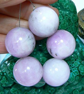 5 RARE HUGE 18mm ROUND NATURAL CHATOYANT PINK AFGHAN KUNZITE BEADS 467ctw