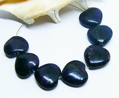 7 RARE 100% NATURAL UNTREATED AFRICAN PURPLE SUGILITE HEART BEADS 15mm