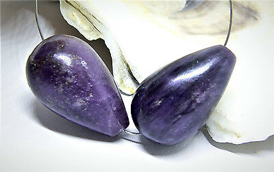 2 RARE 100% NATURAL UNTREATED AFRICAN GEMMY PURPLE SUGILITE DROP BEADS 39.5ctw