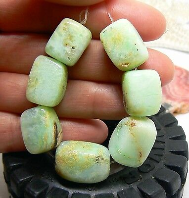 7 RARE NATURAL UNTREATED AUSTRALIAN APPLE GREEN CHRYSOPRASE SQUARE BEADS 15-20mm