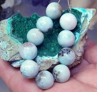 10 RARE 10mm ROUND NATURAL UNTREATED CARIBBEAN BLUE LARIMAR BEADS 78cts