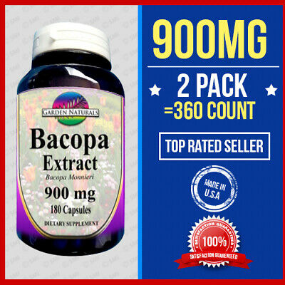 Bacopa Extract 900mg 2pk=360 Capsules Bacopa Monnieria 6 Month Supply Made USA