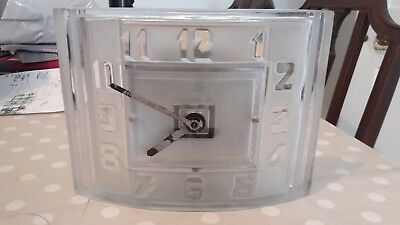 Exceptional and rare art deco moulded glass electric clock by ATO Hatot no 72278