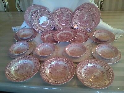 J Broadhurst 'The Constable Series' Pink Red Ironstone Staffordshire Plates Bowl