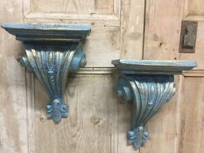 A Pair Of Antique Style Distressed Blue & Gilt Scroll Wall Sconce Shelf Brackets