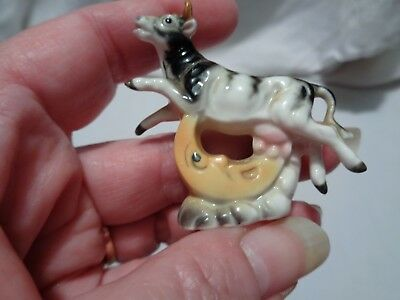 adorable tiny very detailed statue THE COW JUMPED OVER THE MOON 2 in. tall