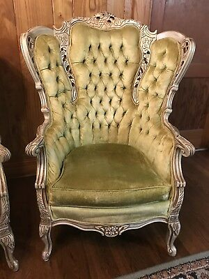 ~Elegant RICOCO Style Carved Wingback Chairs Antique Set Of 2~