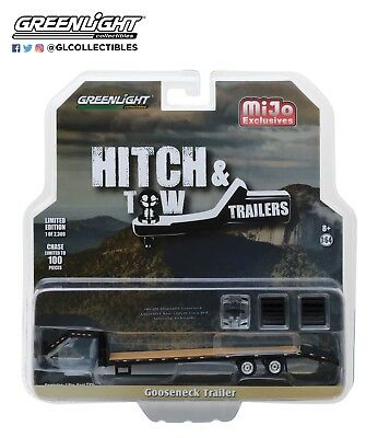 Greenlight Gooseneck Trailer Black with Wood Panels 51215 1/64