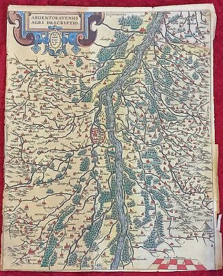 Map Of Strasbourg and Alsace 18th or 19th c copy of 1584 Ortelius