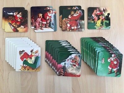 33 New Coca Cola Santa Clause Coasters Cork Back !!!