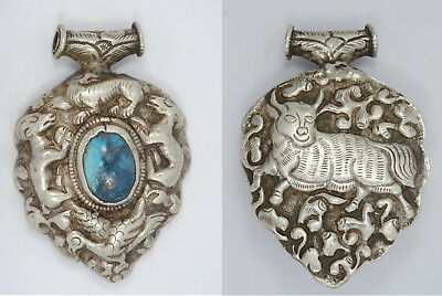 ANTIQUE EARLY 20c. TIBETAN STERLING & TURQUOISE RAM & BULL AMULET PENDANT~ 3""