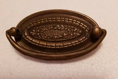One vintage antique oval brass drawer pull handle (2004H)