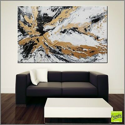 Gold White Black Modern Abstract Painting Textured Canvas 160cm x 100cm Franko