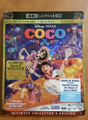 Disney  Coco !!!  4K Ultra Hd + Br  + Digital Code, With Slip Cover, Free Ship!