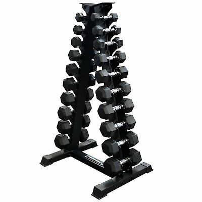 1-10kg Rubber Hex Set A Stand // 10 Pairs With Stand Compact Home Gym Space Save