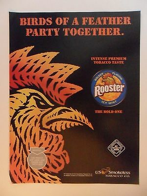 2008 Print Ad Rooster Snuff Smokeless Chewing Tobacco ~ Birds of a Feather