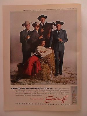 1962 Print Ad Smirnoff Vodka ~ Cowboys with Hats Plain Horse Sense