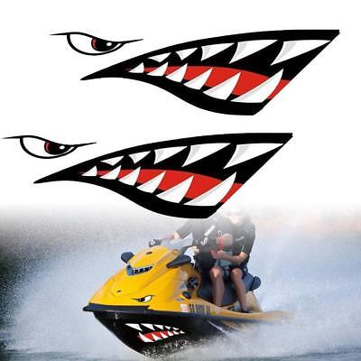 2pcs Car Kayak Shark Mouth Teeth Graphics Pvc Sticker Decal