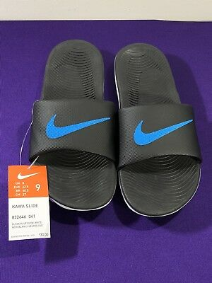 20a075251bef Nike Mens Kawa Slide Black   Blue Glow White Size 9 US EU 42.5 832646
