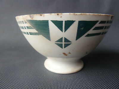 Antique Small Bowl Ceramic Decor Green Kitchen Vintage Old French