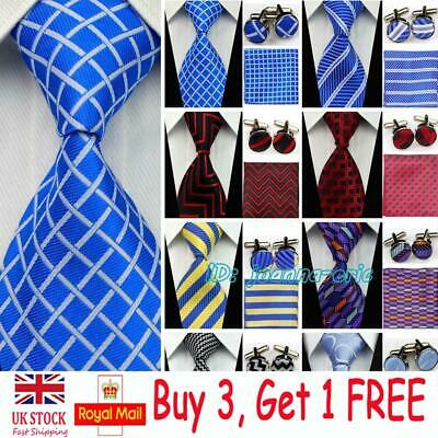 Mens Silk Tie Sets Wedding Neckties Cufflinks Hanky Handkerchief Ties for Groom