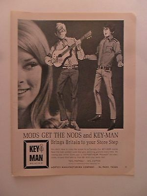 1966 Print Ad Key Man Fashions ~ Mods Get the Nod Guitar Art