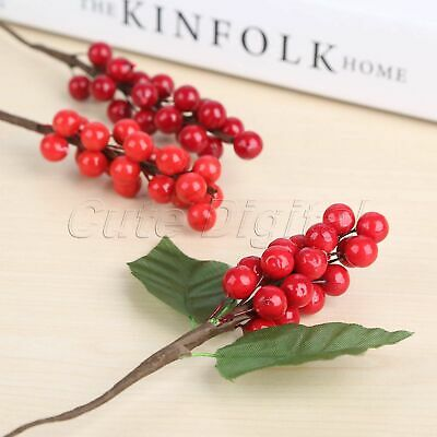 Mini Artificial Berries Leaves Ornaments Decoration Party Berry Flower Branch 5X