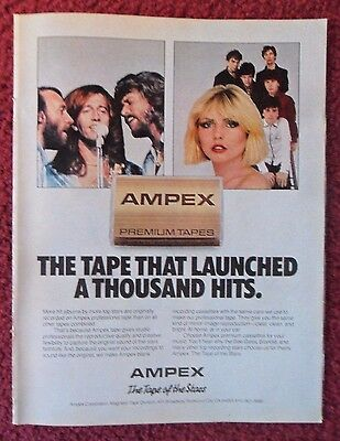 1980 Print Ad Ampex Cassette Music Tapes ~ The BEE GEES & BLONDIE Debbie Harry