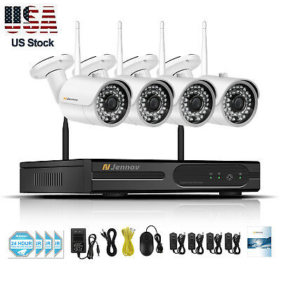 4CH 2.0MP HD NVR Kit 960P Wireless Security Camera System Outdoor WIFI CCTV Set