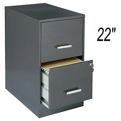 "Metal 22"" 2-Drawer Office File Cabinet Dark Gray with Lock Legal Letter Storage"